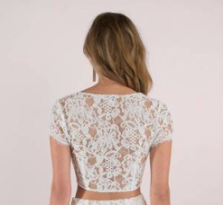 white lace top back