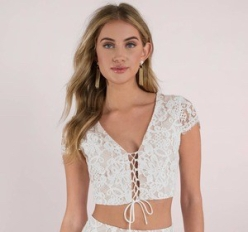 white lace top front
